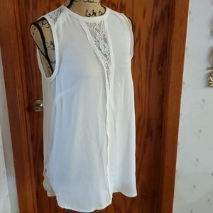 H&M ivory tunic lace tank sz 6 sleevless blouse